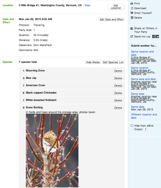 The eBird report I filed this morning.