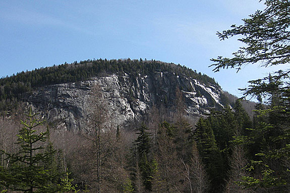 The cliffs of Marshfield Mountain where Peregrine Falcons hang out.