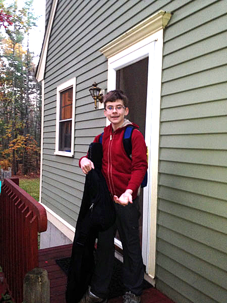 Mac off to school as a thirteen year-old.