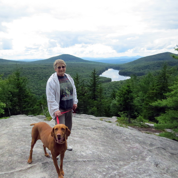 We took the short hike up to Owl's Head and enjoyed some pretty views.  The water behind Mary is Kettle Pond.