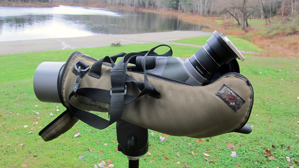 Here's what I lug around although I usually take the phone off the rig and zero in on the bird with the scope.