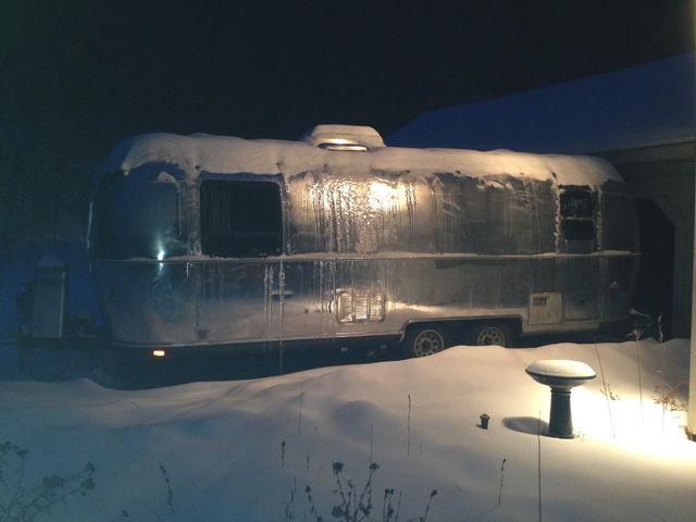 The Airstream was covered with ice and snow this morning