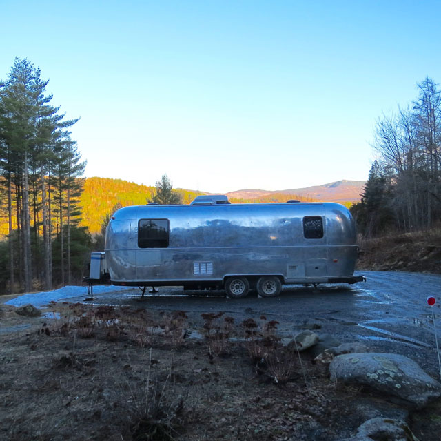 The trailer is sitting in the mud, waiting for the snow to melt and for things to dry out.